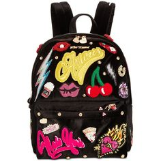 Betsey Johnson Patch Velvet Medium Backpack ($164) ❤ liked on Polyvore featuring bags, backpacks, black, betsey johnson backpack, knapsack bag, rucksack bags, velvet backpack and betsey johnson bags