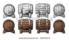 Buy Wooden Barrel Front and Side View Engraving by MoreVector on GraphicRiver. Wooden barrel front and side view. Color and black vintage engraving vector illustration. Isolated on white background Black And White Illustration, Black Side, Illustrations, Bridesmaid Jewelry, Side View, Vector Graphics, Medieval, Royalty Free Stock Photos, Barrels