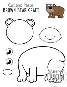 Forest Animal Crafts, Animal Crafts For Kids, Printable Crafts, Free Printable, Printables, Wolf Craft, Bear Template, Preschool Activities, Bear Crafts Preschool