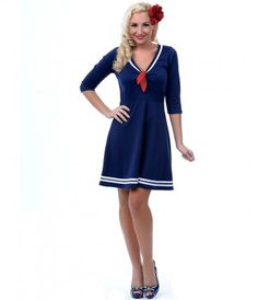 Let Sheila help you navigate the chic seas of your wardrobe darlings! A captivating nautical navy blue, complete with wh...Price - $45.00-TuklclAO