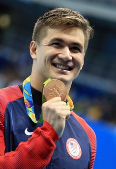 #RIO2016 Nathan Adrian of the USA wins Bronze in the Men's 100m Freestyle Final on Day 5 of the Rio 2016 Olympic Games at the Olympic Aquatics Stadium on...