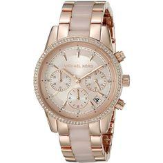 Michael Kors Women's MK6307 Ritz Rose-Tone Gold Chronograph Dial Two-Tone Bracelet Watch