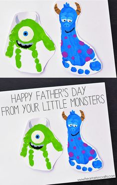 "Handprint and Footprint Monsters Inc. Father's Day Card ""Happy Father's Day From Your Little Monsters!"""