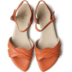 Sale! 25% off! Orange Michelle Sandals, Handmade Leather shoes, Women... ($153) ❤ liked on Polyvore featuring shoes, sandals, heeled sandals, strap heel sandals, strappy flat sandals, flat strap sandals and wide heel sandals