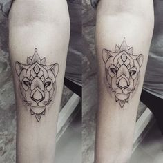 Matching lioness tattoos by Ness Cerciello #lioness #lion #NessCerciello…