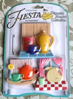 Fiesta Ware 3 *Vignettes * Refrigerator Magnet Set MOC Scenes Mint on Card NIP