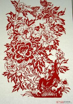 floral paper cut design | ... flower,people think it is a symbol of wealth,so many paper cut use it