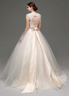 Tulle Cap Sleeves Keyhole Back Princess #Wedding #Dress With Bow And Rhinestone Sash