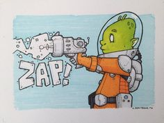 """Steve Armstrong on Twitter: """"Zap! My drawing for #ArtDropDay #alien #zap #raygun…"""