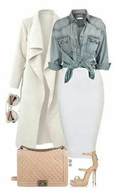 Refined and casual. White coat, Jean shirt, white skirt.