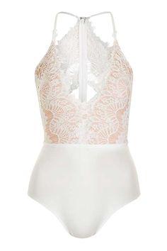 Scallop Lace Plunge Bodysuit by Rare b450c2273