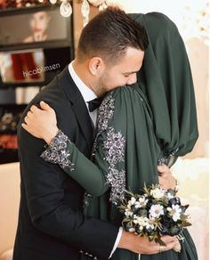 Just for You Muslimah Wedding Dress, Disney Wedding Dresses, Wedding Hijab, Pakistani Wedding Dresses, Hijab Bride, Modest Wedding, Cute Muslim Couples, Men's Accessories, Wedding Couple Poses Photography