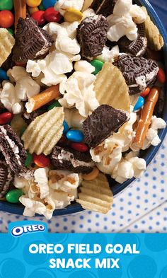 """For a quick and easy way to score some points with the family, combine OREO cookies with chips, popcorn, pretzels, and chocolate. It's a surefire sweet and salty mix that will have them yelling, """"It's good!"""""""