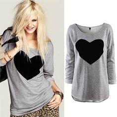 2015 mujeres de moda camisetas Casual manga larga de gasa en forma de corazón T-shirt otoño invierno Tee Tops Plus tamaño S-3XL