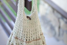 Crochet hobo tote eco-friendly bag beige and green by Muza on Etsy