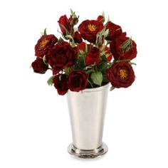 Faux Roses in 12-Inch Julep Cup - BedBathandBeyond.com