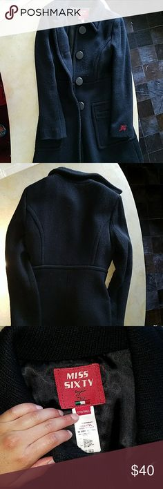 Miss Sixty black trench coat xsmall Great condition. Very warm and has pockets on side. Is too long for me (I'm 4'9). Miss Sixty Jackets & Coats Trench Coats