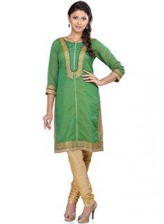 Green Chanderi Silk Straight Cut Kurti