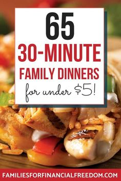 I love these ideas for cheap dinner recipes! Find 65 quick cheap recipes for a tight budget! Cheap recipes for one, for two, or for more! Easy cheap recipes for families or for a crowd or large group! Cheap recipes for college students! Cheap dinner recipes for chicken, pasta, rice, and more! #recipes #dinner #dinnerrecipes #easydinner #easydinnerrecipes #familydinner #cheapdinners #cheapmeals #meals #savemoney #money #finance #family #save #frugal #budget #30minutemeals #mealprep…