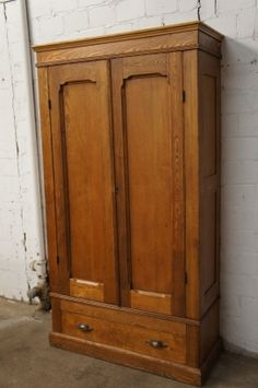 Early American Solid Oak Knockdown Armoire Primitive Antique Wardrobe  Cabinet | The Designers Consignment