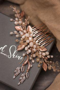 Rose gold bridal comb, Wedding beige hair piece, B Rose Gold Bridal Jewelry, Gold Bridal Earrings, Bride Earrings, Bridal Jewelry Sets, Wedding Jewelry, Rose Gold Fabric, Engraved Jewelry Box, Hair Brooch, Bridal Hair Accessories