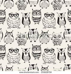 Vector seamless pattern with cute owls. Cartoon characters of creative professions. Sleepy dudes in the form of birds with an individual appearance. Cute Owl Cartoon, Cartoon Birds, Cute Vector, Owl Facts, Wallpaper Fofos, Owl Artwork, Owl Pictures, Beautiful Owl, Baby Owls
