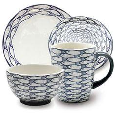 Jersey Pottery Sardine Run Dinnerware Collection - heals Le Creuset Cookware, Gold Flatware, Mid Century Modern Kitchen, Scandi Style, Summer Patterns, Beach House Decor, Fine China, Shades Of Green, Kitchen Accessories