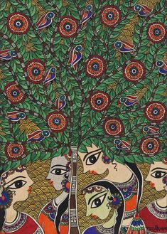 Madhubani painting, 'Women Talks' - Signed Madhubani Painting of Talking Women from India Indian Folk Art, Indian Artist, Traditional Paintings, Traditional Art, Madhubani Painting, Kalamkari Painting, India Art, India India, Indian Arts And Crafts