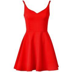LUCLUC Red V-Neck Sleeveless Skater Dress (140 BRL) ❤ liked on Polyvore featuring dresses, vestidos, red day dress, skater dress, v neck skater dress, no sleeve dress and v neckline dress