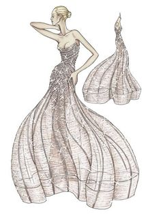 "Atelier Versace Spring 2009. Antique rose evening dress in silk tulle and georgette  Micro draping forms the bodice while boned piping retains the shape before falling to create the ""cage"" shape  Embroidered entirely in crystal in a ""degrade"" effect"
