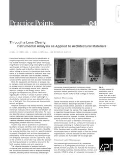 "APT Bulletin - Practice Point  No. 4 ""Through a Lens Clearly: Instrumental Analysis as Applied to Architectural Materials"" By: Joshua Freedland, L. Brad Shotwell, and Deborah Slaton"