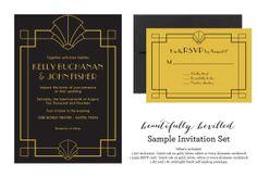 Sample for Printed Art Deco Invitations --- Art Deco Fan on Etsy, $4.00