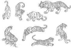 Line Art Tattoos, Time Tattoos, Body Tattoos, Tiger Tattoo Small, Small Tattoos, Watercolor Fox Tattoos, Russian Tattoo, Handpoke Tattoo, Rosen Tattoos