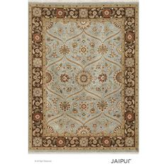 Jaipur Hand Knotted Ice /Tobacco Classic Pattern Rug