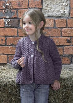 Girls Knitting Pattern Childrens Long Sleeve Round Neck Smock Cardigan with Cable Yoke Knitting Pattern Aran (Worsted) King Cole Kids Knitting Patterns, Knitting For Kids, Free Knitting, King Cole, Baby Cardigan, Cropped Cardigan, Baby Sweaters, Knitwear, Knit Crochet
