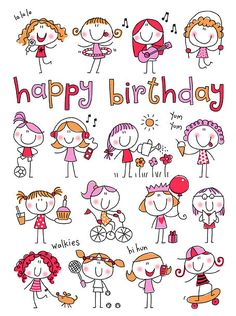 58 Super Ideas For Birthday Drawing Doodles Happy Happy Birthday Quotes, Happy Birthday Greetings, Birthday Messages, Birthday Images, Happy Birthday Little Girl, Doodle Drawings, Easy Drawings, Doodle Art, Drawing For Kids