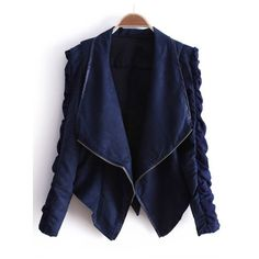 Navy Lapel Long Sleeve Zipper Drawstring Crop Coat ($32) ❤ liked on Polyvore