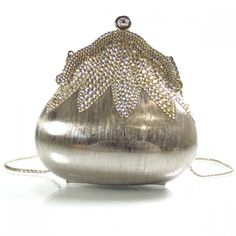 JUDITH LEIBER Swarovski Crystal Chatelaine Minaudiere Brushed Silver.