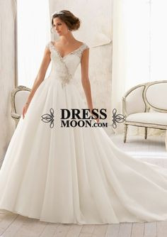 I like this - Gorgeous V Neck Organza and  Lace Chapel Train Ball Gown Wedding Dress. Do you think I should buy it?