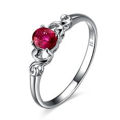 Beautiful Solitaire Ruby Engagement Ring on 10k White Gold