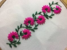 Hand Embroidery: borderline embroidery design with lazy daisy stitch. - YouTube