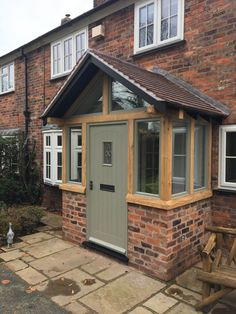Find porch roof on gable end only on this page Patios must show charm as well as coziness. Roof design for patios is on… Porch Uk, Front Door Porch, Cottage Porch, Porch Doors, Side Porch, House With Porch, House Front, Garage Doors, Bungalow Porch