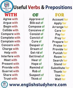 Useful Verbs and Prepositions - With, Of, For - English Study Here English Prepositions, English Verbs, Learn English Grammar, English Writing Skills, English Language Learning, English Phrases, Learn English Words, English Study, English Lessons