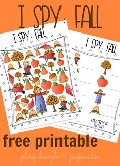 {Free Printable} I Spy: Fall. A fall inspired printable I Spy game for preschoolers.