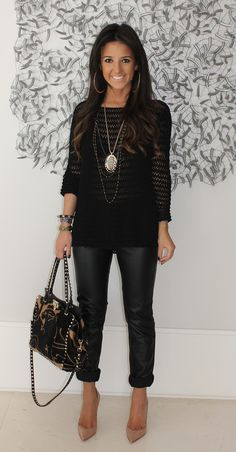 Pleather Pants + Crochet Sweater Top + Nude Heels