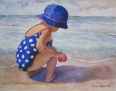 Nursery Wall Art Beach Girl Art Print Beach Painting