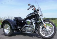 DMC's Sportster Trike Immediately available is DMC's trike conversion kit for Harly-Davidson's(tm) 2004 and newer Sportster. Our kit is 100% bolt-on with absolutely NO welding involved. The kit includes full body work, swing arm, wheels and tires. The trike conversion kit for Harley-Davidson's 2003 and older belt-driven Sportster will soon be available.