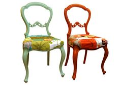 Patchwork chairs - I wonder how hard it would be to make one of these from an old chair?