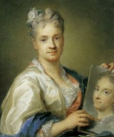 "Rosalba Carriera. Self-portrait with a portrait of her sister (1715) Pastel on paper. Uffizi Gallery, Florence ***Wrongly attributed as ""Giovanna Garzoni - autoritratto/selfportrait.""]NB"