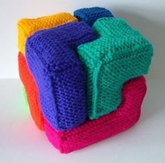 Knitting pattern for Soma Cube and more stash busting knitting patterns
